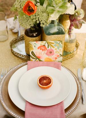 Orange Pink Gold Spring Table