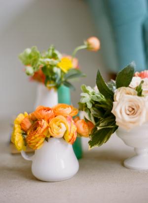 Orange and White Rose Mini Arrangements