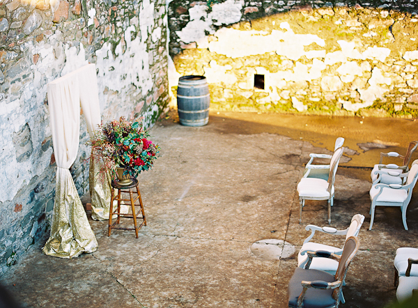 Outdoor Ceremony Gold and Berry Decor