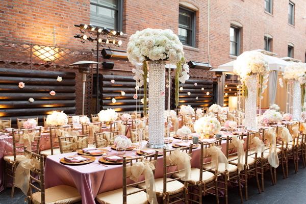 Oversize Tall Vases With Rhinestones and Cream Flowers