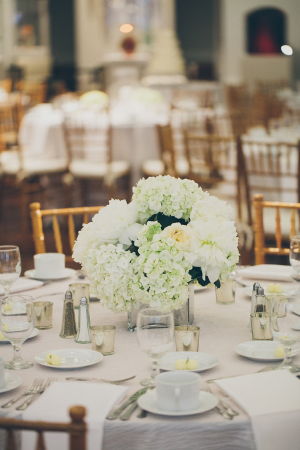 Pale Green and White Hydrangea Centerpiece