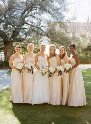 Pale Peach Bridesmaids Dresses