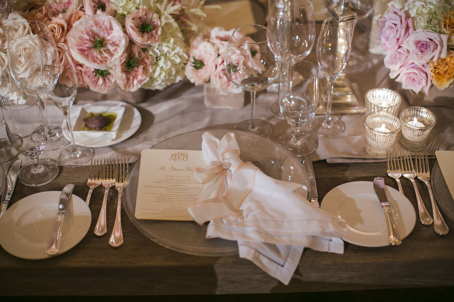 Pale Pink White And Gold Reception Table Setting