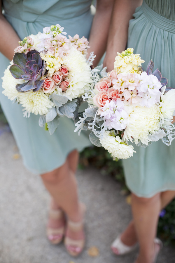 Pastel Spring Bouquets With Succulents