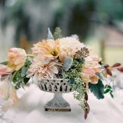 Peach Dahlia Centerpiece
