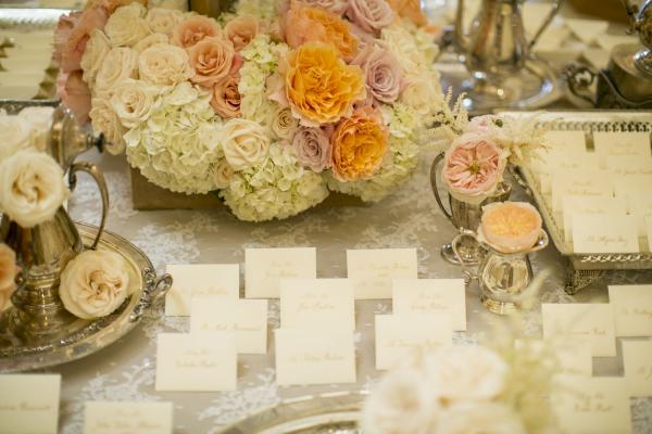 Peach Ivory Escort Card Table