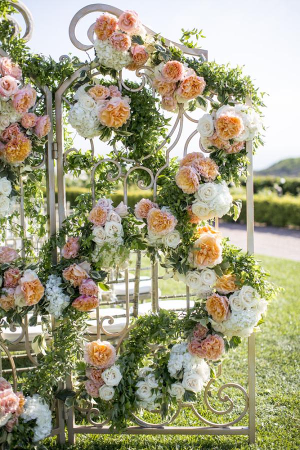 Peach Ivory Wedding Floral Gate