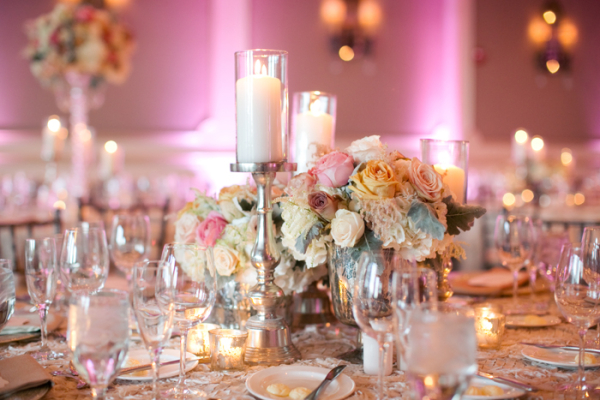 Peach Pink Wedding Centerpiece