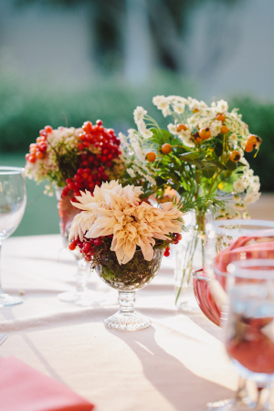 Peach and Berry Colored Centerpiece