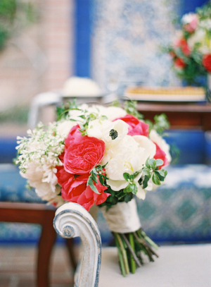 Pink Red and Cream Bouquet With Greenery