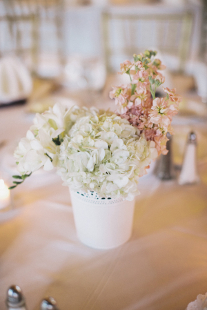 Pink and White Hydrangea Centerpiece