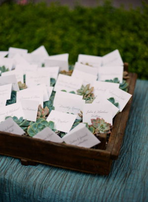 Place Cards in Wooden Tray With Succulents