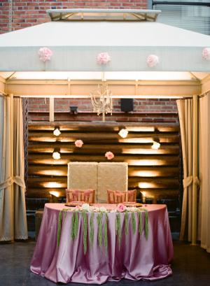Purple Pink Reception Table Linens