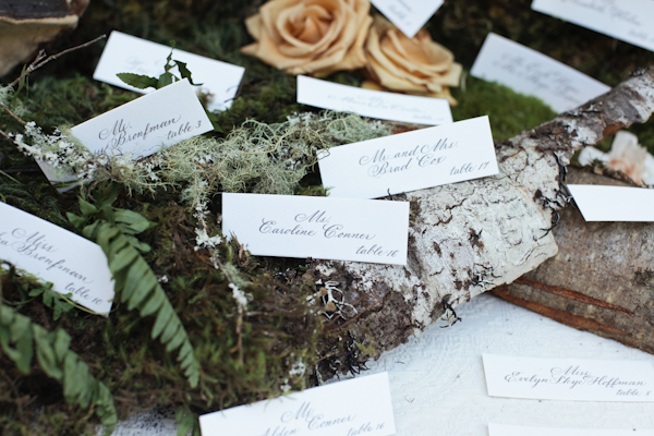 Reception Place Cards on Tree Bark and Moss