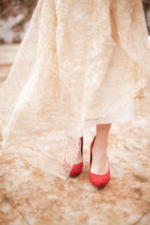 Red Suede Platform Shoes