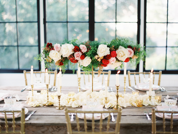 Rose and Fern Garland on Candelabra
