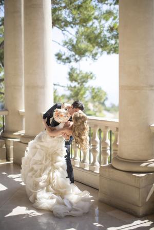 Ruffled Skirt on Strapless Bridal Gown