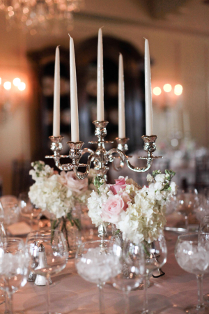 Silver Candelabra With White Hydrangeas and Pink Roses