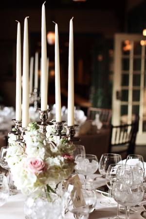 Silver Candelabra and Fresh Flowers Reception Decor