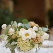 Small Hydrangea and Rose Centerpiece