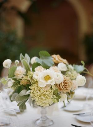 Small Hydrangea and Rose Centerpiece