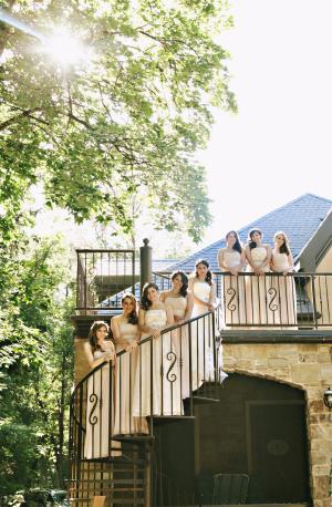 Strapless Cream Colored Bridesmaids Dresses