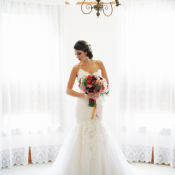 Strapless Wedding Gown With Flared Tulle Skirt