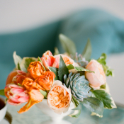 Succulent and Orange Floral Arrangement