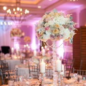 Tall Modern Glamorous Rose and Hydrangea Centerpiece