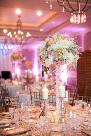 Tall Modern Glamorous Rose and Hydrangea Centerpiece
