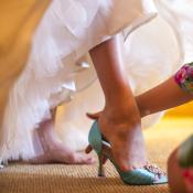 Tiffany Blue Peep Toe Bridal Shoes