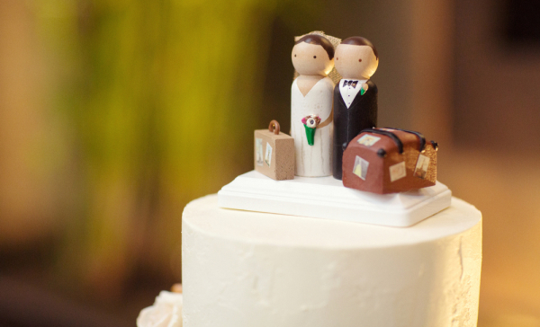 Traveling Bride and Groom Cake Topper