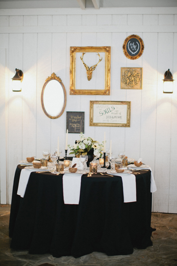 Vintage Black and Gold Table Setting