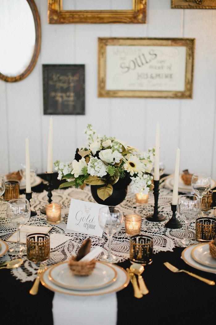 Vintage Gold Black And Lace Tablescape Elizabeth Anne