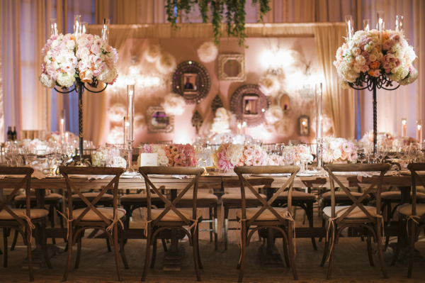 Vintage Reception Decor With Pink and Cream Roses