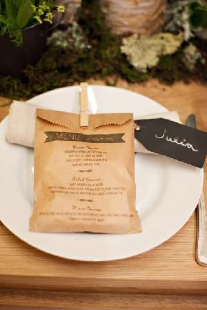 Wedding Menu Cookie Favor Bag Idea