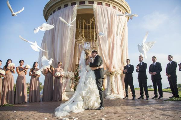 White Doves in Wedding Ceremony