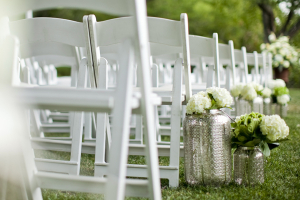 White Flowers in Silver Jars Aisle Decor