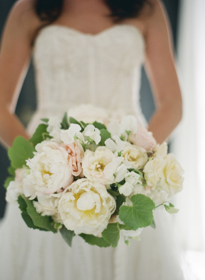 White and Peach Garden Bridal Bouquet With Greenery