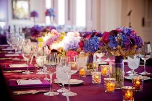 Wine Purple and Blue Tablescape