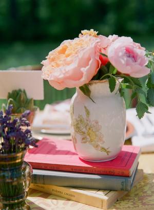 Antique Cream and Gold Vase