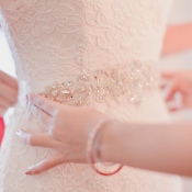 Beaded Sash on Wedding Gown