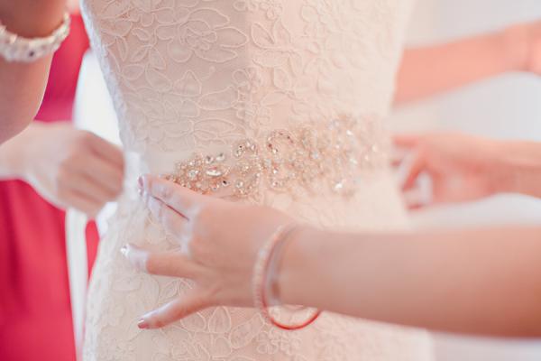 Beaded Sash on Wedding Gown