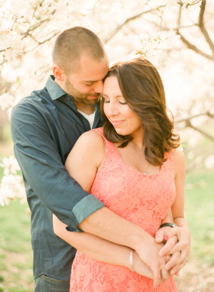 Blue and Pink Engagement Portrait Clothing