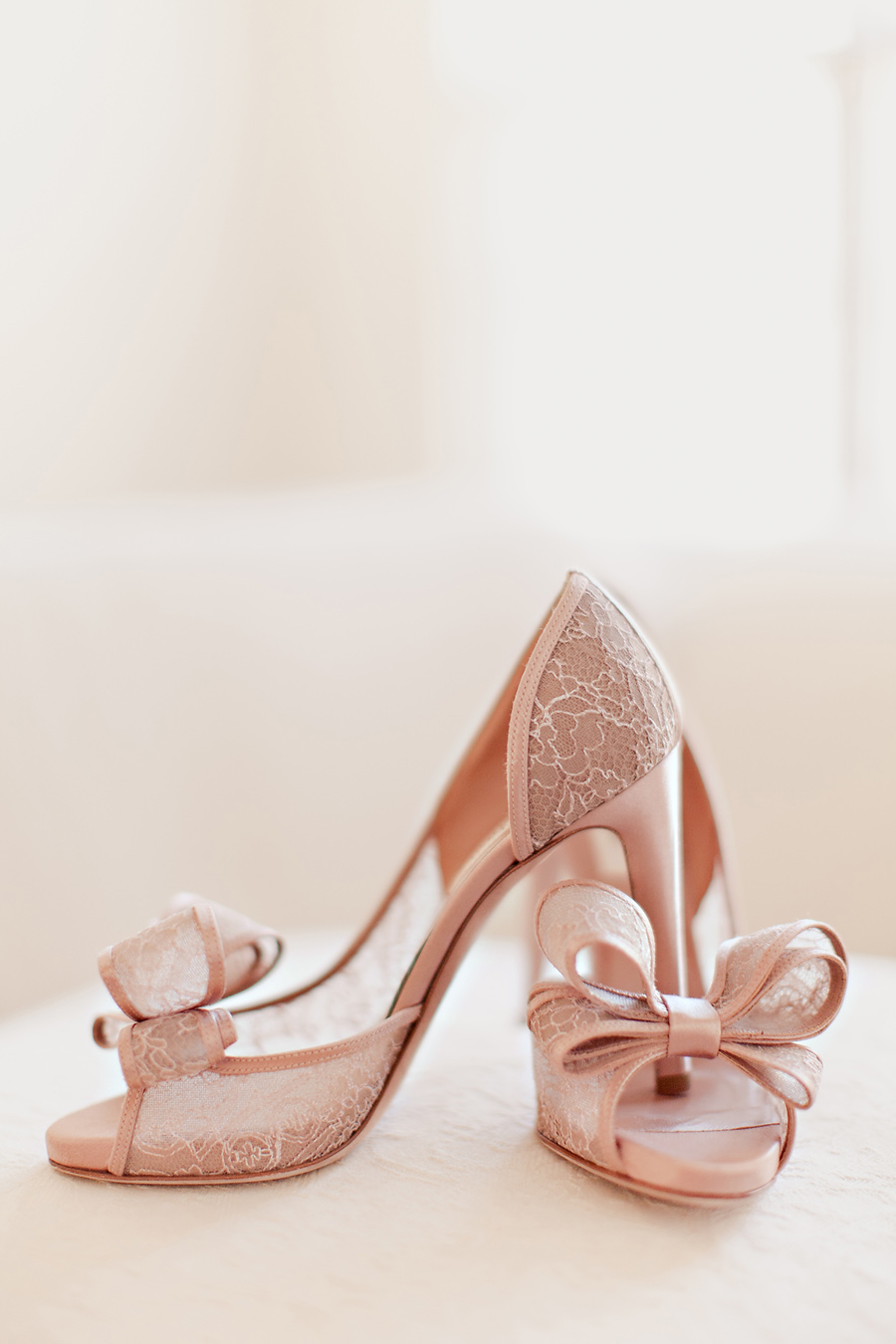 Red Shoes Bow Open Toe Wedding