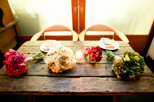 Bouquets on Rustic Wood Table