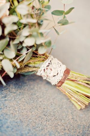 Bridal Bouquet With Lace Wrap