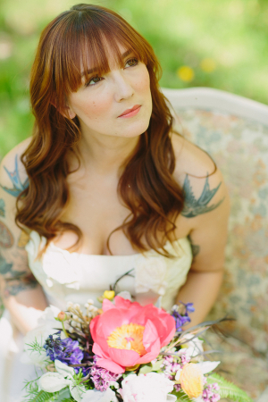 Bride With Exotic Wildflower Bouquet