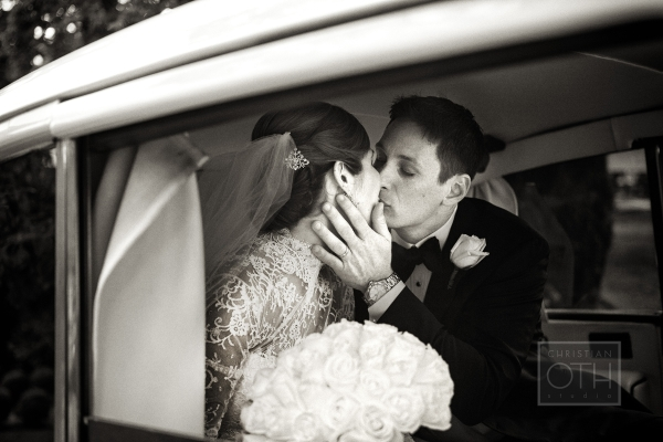 Bride and Groom Vintage Limo
