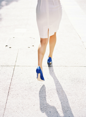 Bride in Blue Heels